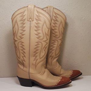 Dan Post Womens 6 Lizard Wingtip Boots Vintage